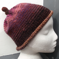 Handknit Knotty Top Roll Up NORO Beanie Hat 100% wool Stripey Browns & Pinks
