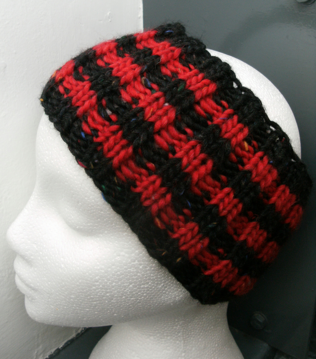 Hand Knitted Merino Headband in Red & Black Dennis The Menace style