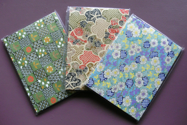 HANDBACKED NOTEBOOKS ORIGAMI WASHI PAPER x 3 SET 4