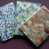 HANDBACKED NOTEBOOKS ORIGAMI WASHI PAPER x 3 SET 2