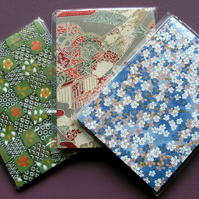 HANDBACKED NOTEBOOKS ORIGAMI WASHI PAPER x 3 SET 3