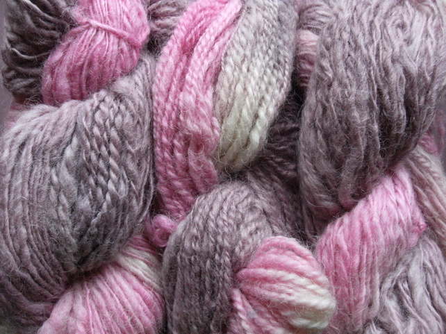 SPECIALS! 200g Hand-dyed Hand-Spun ARAN 100% WOOL Purples & Pinks