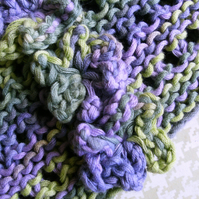 Hand-dyed & Knit Cotton Lacy Headband with flowers Purple & Green