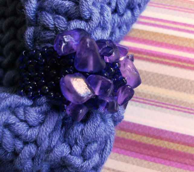 SKINNY BLINGY HAIRBAND HandKnit BAMBOO Lavender Purple SMALL