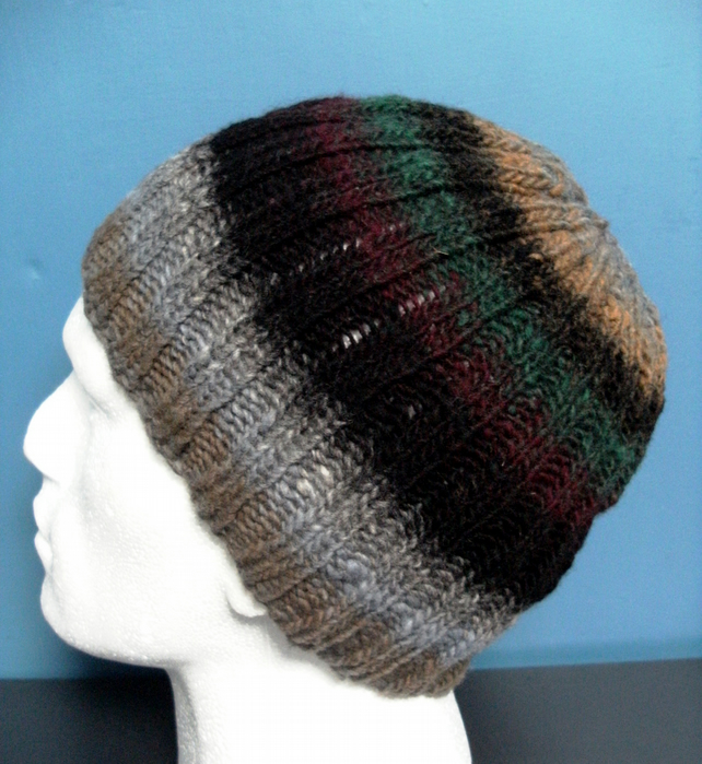 Handknit 100% Wool NORO STRIPEY RIBBED HAT Grey Black Forest SMALL-MEDIUM