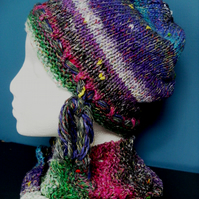 Handknit Noro Hat & Cowl Set. Cotton Silk Wool in Pink, Blue, Green, Purple