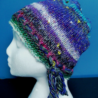 Handknit Noro cotton silk & wool hat M Purple, Turquoise, Blue, Pink, White