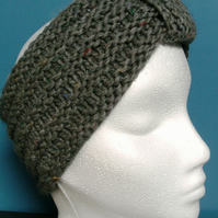 MARCH SALE! Hand knitted Turban Style Headband- Mid Grey - Medium