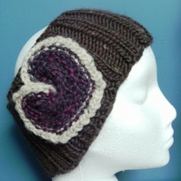 Chunky Merino Heart Headband Brown & Dark Pink MED