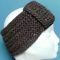 MARCH SALE! Hand knitted Turban Style Headband- Dark Brown - Medium