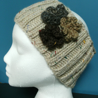 Handknit DoubleRibbed Headband- Cream fleck Merino with flowers M