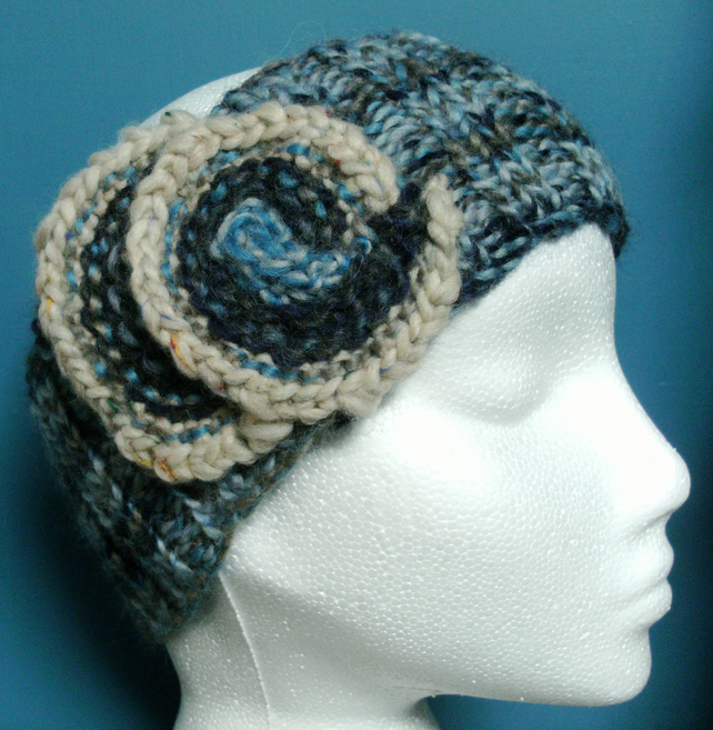 Tweedy Swirl Headband 100% Wool in Blues & Greys MED