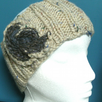 Hand knitted Double Ribbed Headband- Cream flecked Merino with lavender swirl M
