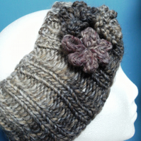 SALE! Hand Knitted Chunky Wool Headband in Browns & Greys 3 flowers M