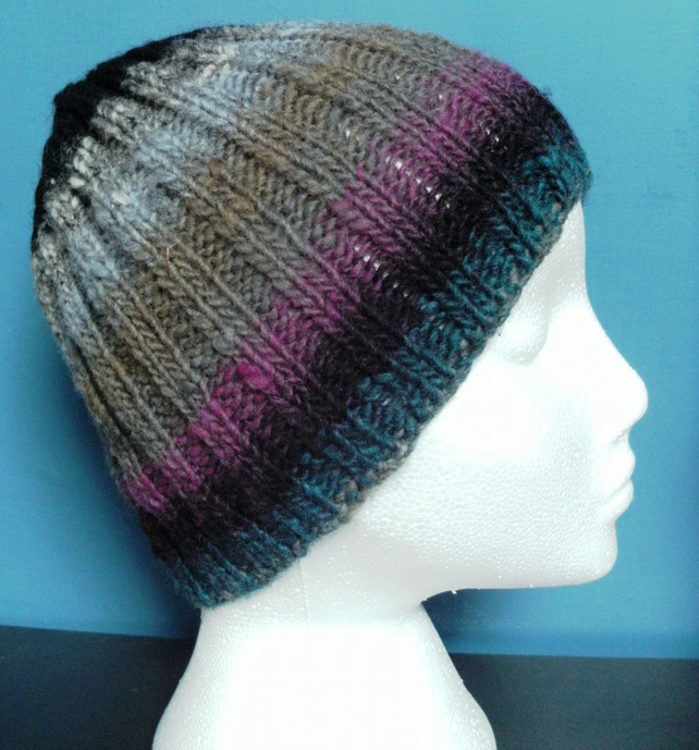 Handknit 100% Wool NORO STRIPEY RIBBED HAT Greys Black Purple Blue SMALL-MEDIUM