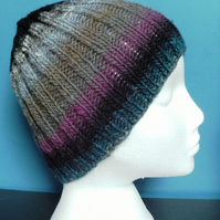 Handknit 100% Wool NORO STRIPEY RIBBED HAT Greys Black Purple Blue MEDIUM