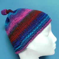 Handknit 100% WOOL NORO KNOTTY TOP BEANIE SMALL