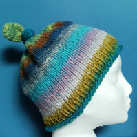 Handknit 100% WOOL NORO KNOTTY TOP BEANIE MEDIUM