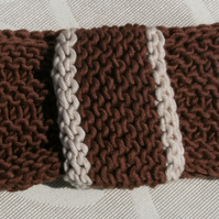 SUMMER SALE! Vintage look loop Headband Bamboo & Wool - Brown