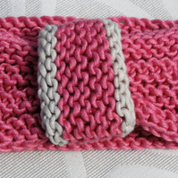 SUMMER SALE! Vintage look loop Headband Bamboo & Wool - Candy Pink