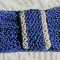 SUMMER SALE! Vintage look loop Headband Bamboo & Wool - Blue Lavender M