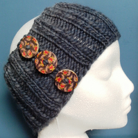 SPECIAL! Hand Knitted Wool Headband in Blues with buttons