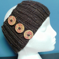 SPECIAL! Hand Knitted Merino Headband in Brown with buttons