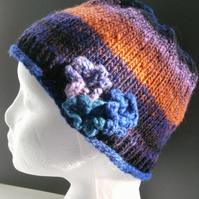Handknit Noro 3-flowered Hat 100% wool Blue, Purple, Orange MED