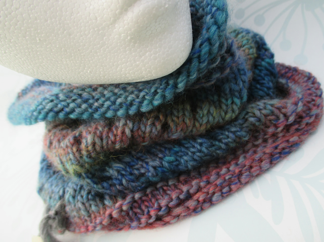 Handknit EYELET COWL in Multi Blue