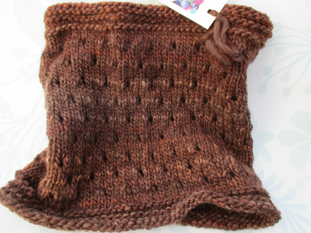 Handknit EYELET COWL in Rich Browns