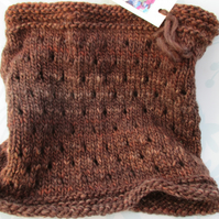 Handknit Chunky Wool EYELET COWL in Rich Browns