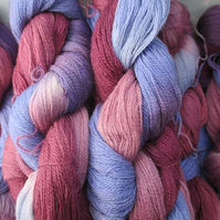 SPECIAL! Hand-dyed 100% MERINO LACEWEIGHT Berry Purples