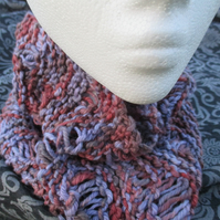 MOBIUS NECK WARMER Hand-dyed Cotton Lavender & Pinks