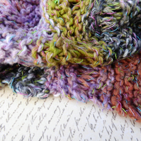 Noro MOBIUS NECK WARMER cotton, wool & silk in terracotta, lavender, moss green