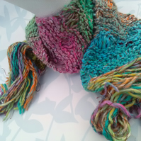 Handknit Noro Lacy Long Scarf. Cotton Silk Wool in Rainbow Pastel