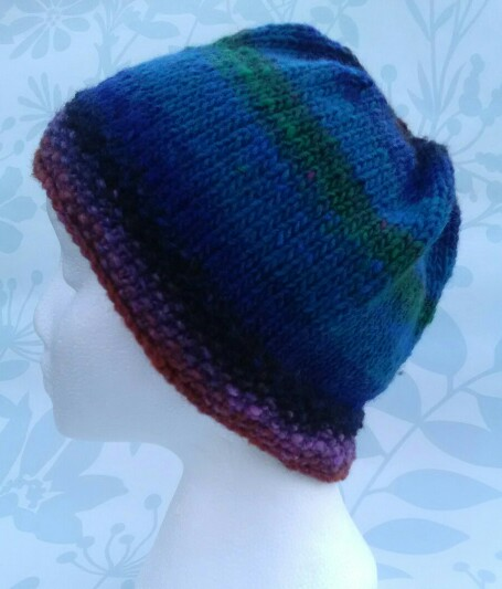 Handknit Noro Beanie Hat 100% wool Green, Blues and purple MED