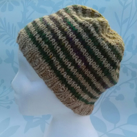 Handknit Noro Donegal Tweed stripey Hat green mix MED