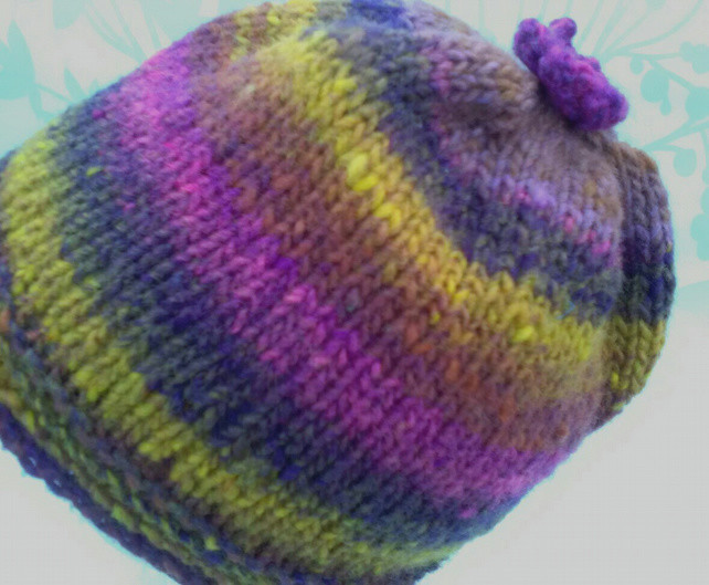 Handknit 100% WOOL NORO FLOWER TOP BEANIE SMALL