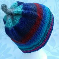 Handknit 100% WOOL NORO KNOTTY TOP BEANIE SMALL-MEDIUM