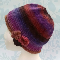Handknit Noro 3-Flowered Beanie Hat 100% wool pinks browns, purple MED