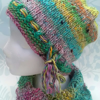 Handknit Noro Hat & Cowl Set. Cotton Silk Wool in Rainbow Pastel