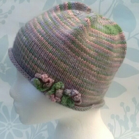 Handknit hand dyed Merino 3 flowered beanie hat pastels SMALL