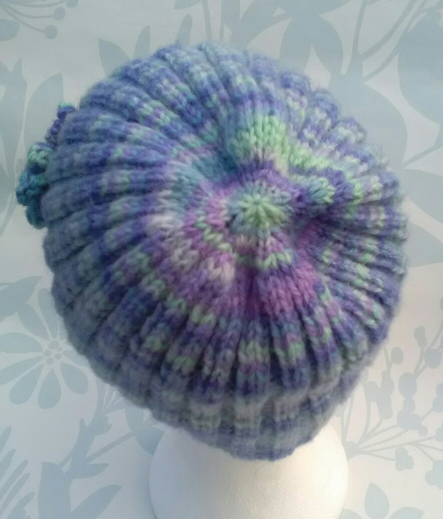 Handknit hand dyed Shetland 3 flowered ribbed beanie hat blues SMALL MEDIUM