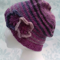 Handknit Noro Donegal Tweed stripey Hat with flowers Mauve mix MED