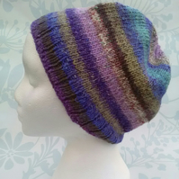 Handknit Noro Cotton wool silk Hat purple lilac blue MED