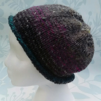 Handknit Noro Tweed stripey Roll up Hat purple greys teal MED