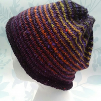 Handknit Noro Donegal Tweed stripey Roll up Hat purple orange yellow MED