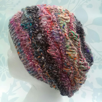 Handknit Cotton wool silk Lacy Beret Medium pinks black mix
