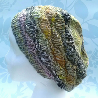 Handknit Cotton Wool Silk Lacy Beret Medium pale greens charcoal mix