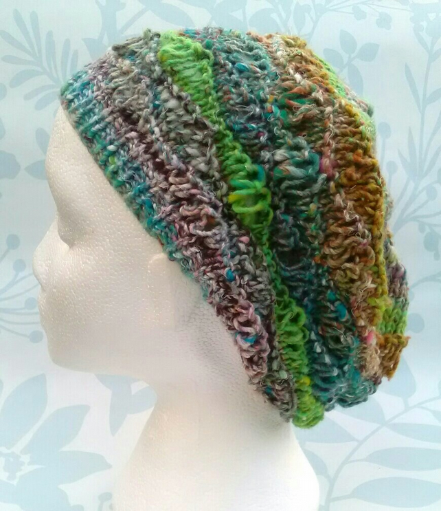 Handknit Cotton Wool Silk Lacy Beret Medium turquoise green mix